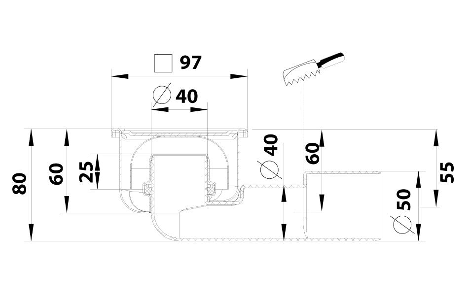 cross-sectionBlücher Compact vloerput 182.101.040