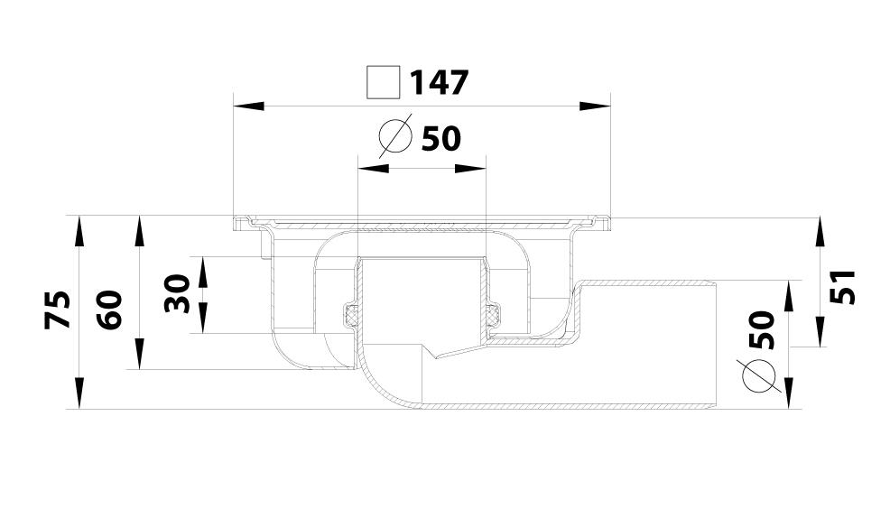 cross-sectionBlücher Compact vloerput 182.150.050