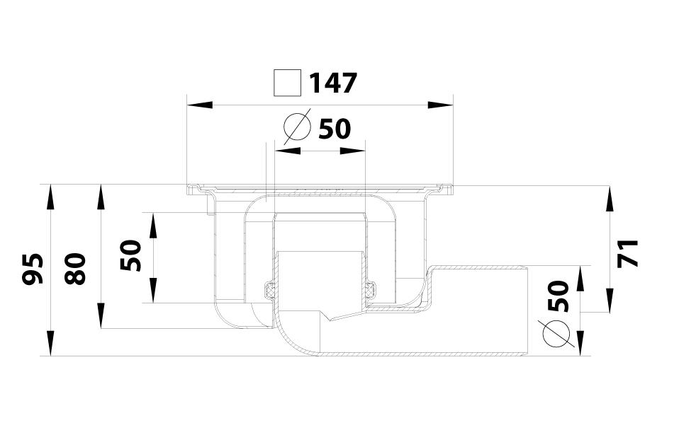 cross-sectionBlücher Compact vloerput 182.153.050