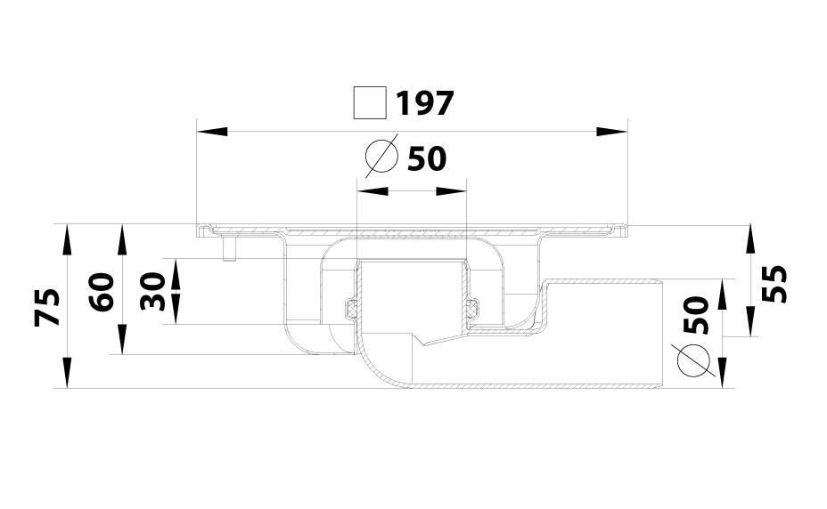 cross-sectionBlücher Compact vloerput 182.201.050