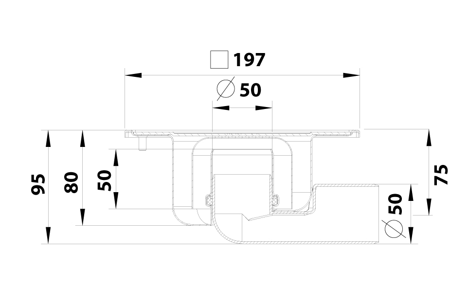 cross-sectionBlücher Compact vloerput 182.203.050