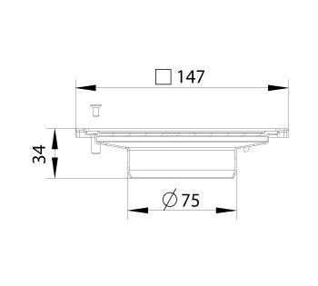 cross-sectionBlücher Compact vloerput zonder waterslot 183.151.075