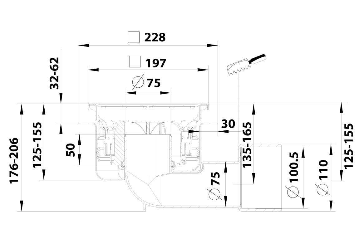 cross-sectionBlücher Compact vloerput 799.2983AJ