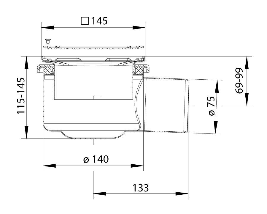 cross-sectionBlücher Domestic vloerput 110.300.075