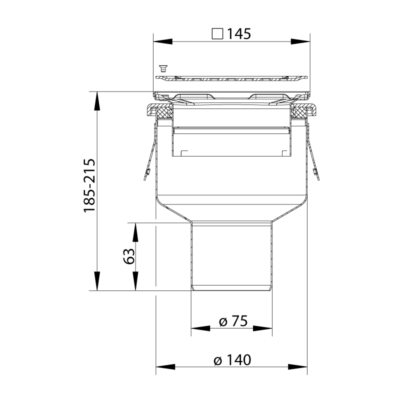 cross-sectionBlücher Domestic vloerput 150.300.075