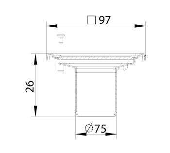 cross-sectionBlücher Compact vloerput zonder waterslot 183.101.075