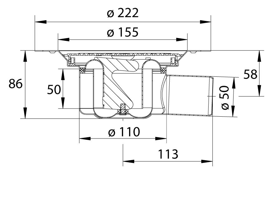 cross-sectionBlücher Domestic vloerput voor vinyl 383.620.002