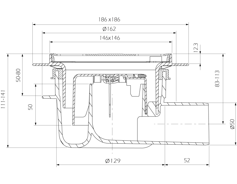 cross-sectionAquaberg vloerput 4616146FS