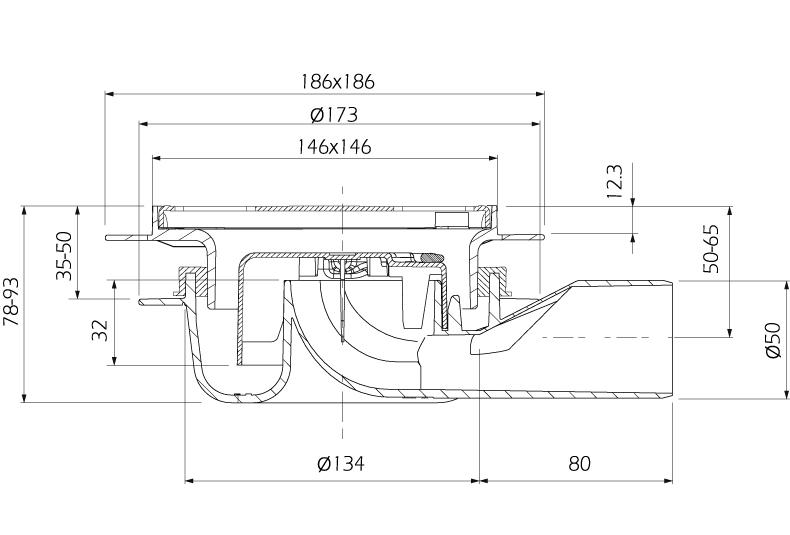 cross-sectionAquaberg vloerput 4016146FRS-316