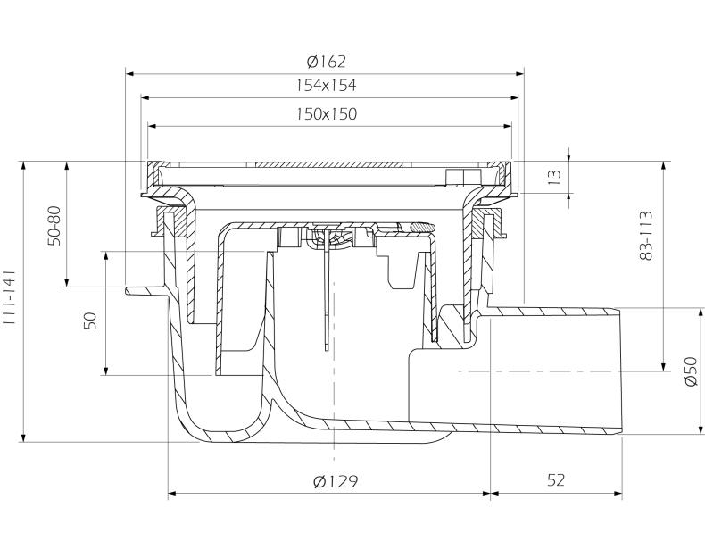 cross-sectionAquaberg vloerput 4616R-316