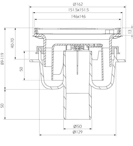 cross-sectionAquaberg vloerput 4015146R-316