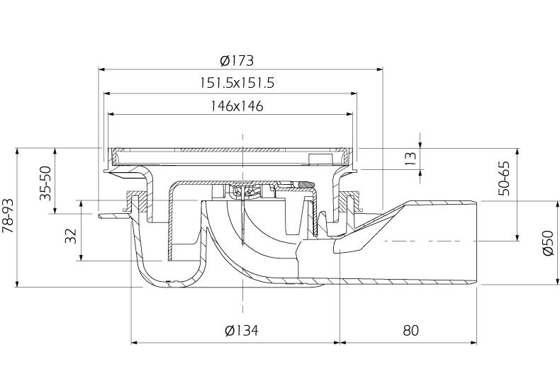 cross-sectionAquaberg vloerput 4016146R-316