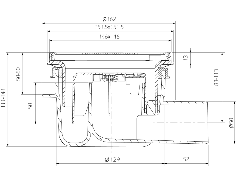 cross-sectionAquaberg vloerput 4616146R-316