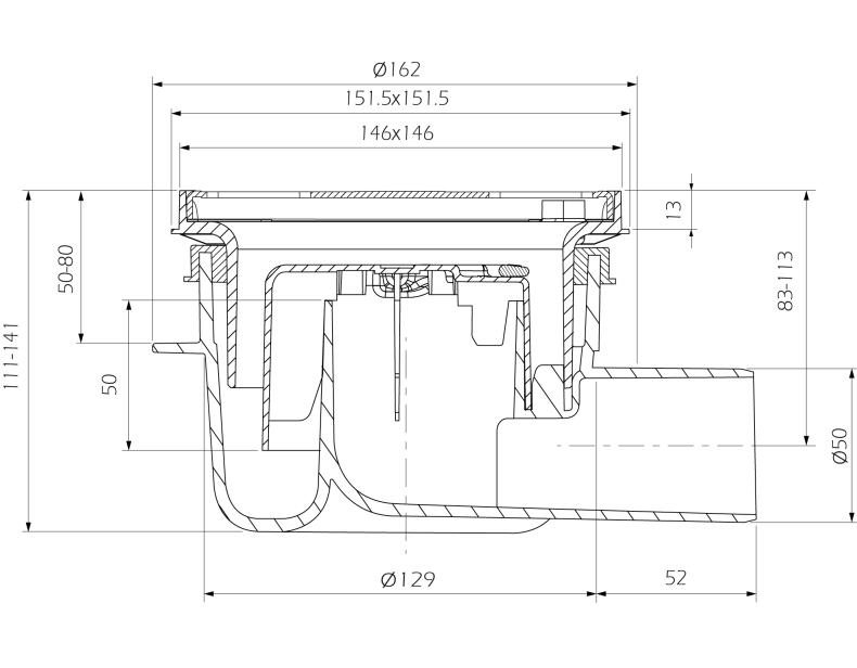 cross-sectionAquaberg vloerput 4616146S-316