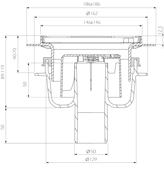 cross-sectionAquaberg vloerput 4015146FRA