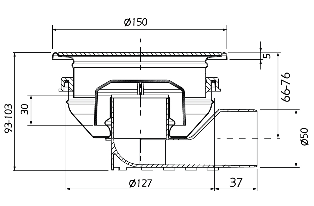cross-sectionAquaberg vloerput 48500