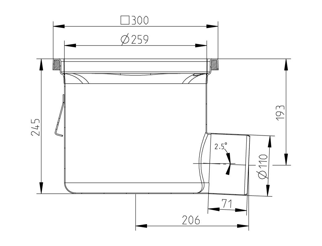 cross-sectionAquaberg Business Line vloerput 177028