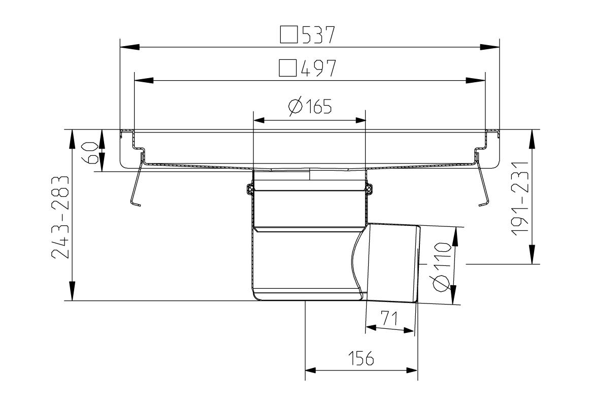 cross-sectionAquaberg Business Line keukengoot 177038
