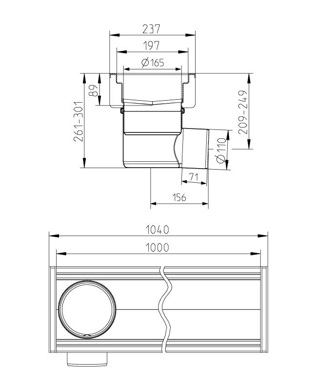 cross-sectionAquaberg Business Line bakgoot 177042