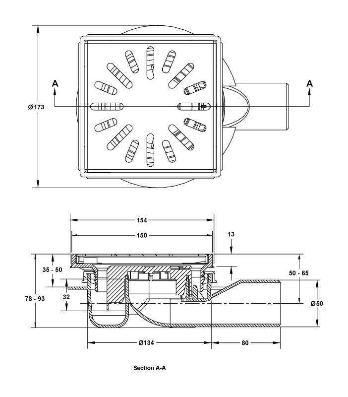 cross-sectionAquaberg vloerput 4016