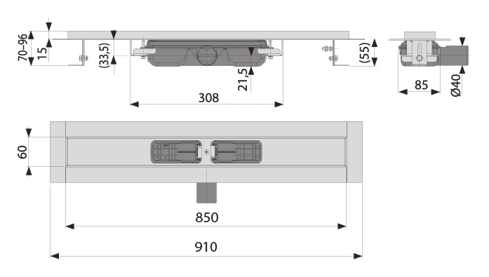 cross-sectionAquaberg douchegoot 70LN850L