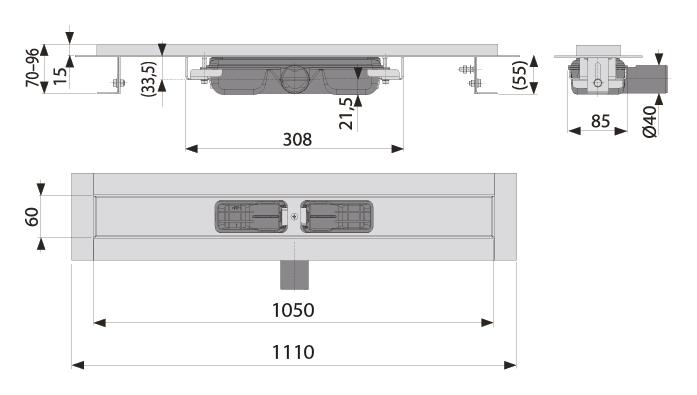 cross-sectionAquaberg douchegoot 70PR1050L