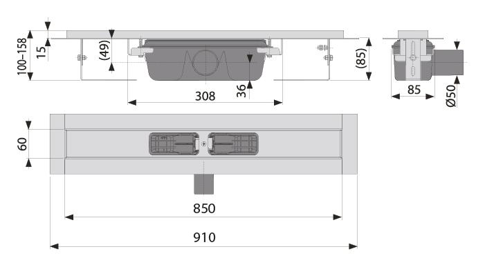 cross-sectionAquaberg douchegoot LN850L