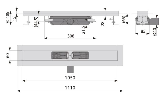 cross-sectionAquaberg douchegoot 80DS1050L
