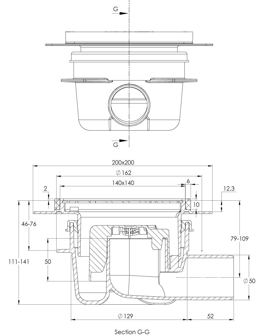 cross-sectionAquaberg vloerput 2038